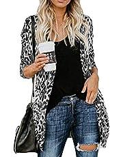 Cuekondy Women's Leopard Printed Cardigans Casual Lightweight Button Down Loose Kimono Long Sleeve Long Coat Outwear (XXXL, Gray)