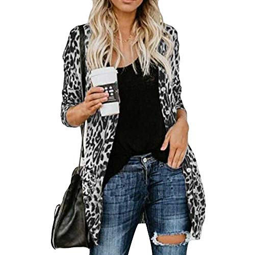 DongDong ❣Women Casual Cardigan, Leopard Print Button Long Sleeve Coat with Pockets (XXL, Gray) ()