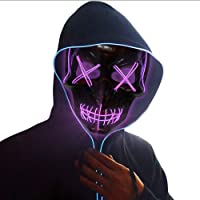 Ankuka Halloween LED Wire Scary Light Up Glowing Mask for Cosplay, Costume Party