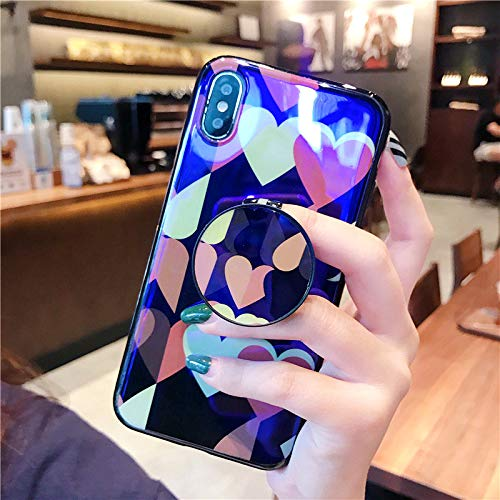 (1 piece For iPhone X XS Max Case Cute Blu-ray Love Heart Star Patterned Case For iPhone 7 XR 6s 8 Plus Vintage Kickstand Soft Back Cover)