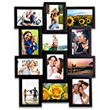 Hello Laura 14 by 26 inch Gallery Collage Wall Hanging Photo Frame for 4 x 6 inch Photo, 12 Photo Sockets, Black Edge