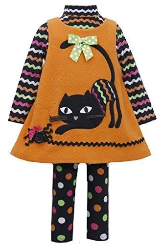 Halloween Clothing Stores (Bonnie Baby Baby Girls' Orange CAT Applique Fleece Jumper Leggings 3-pc set, 24)