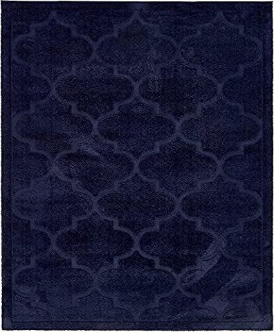 Unique Loom 3133191 Modern Solid Carved Geometric Plush 8 Feet (8' x) Trellis Shag Contemporary Area Rug, 8 x 10, Navy (Shag Rug Navy Blue)