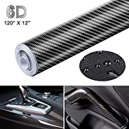 Black 6D Carbon Fiber Vinyl Self Adhesive Film, Waterproof Wrap Roll Without Bubble, Adapted to The Appearance