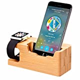 Wood Apple Watch Stand, TuoP Bamboo Wood iWatch 38 mm/42 mm Dock Charging Station Phone Stand/Cradle/Holder for iPhone/Smartphones