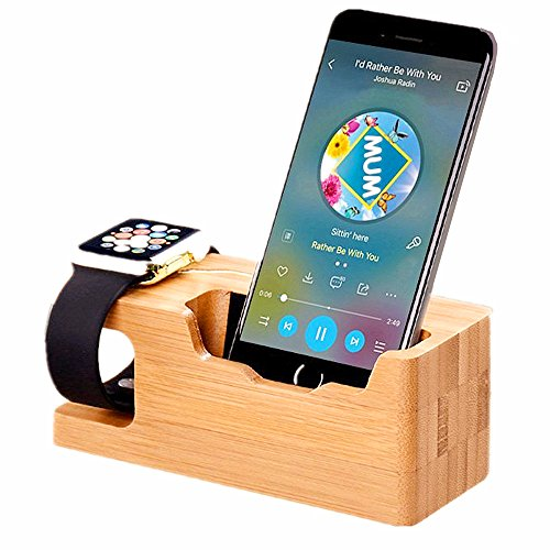 Wood Apple Watch Stand, TuoP Bamboo Wood iWatch 38 mm/42 mm Dock Charging Station Phone Stand/Cradle/Holder for iPhone/Smartphones by TUOP