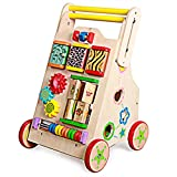 Meen Baby Walker, Multi-Function Anti-Rollover Children's Wooden Cart Speed Control Fun Infants Step-by-Step Toy Car