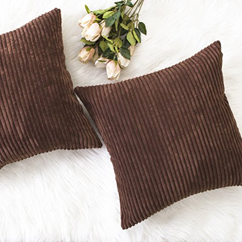 Brown Velvet Pillow - HOME BRILLIANT Decor Solid Plush Corduroy Striped Square Throw Fall Pillow Cushion Covers Decorative, Set of 2, 18x18 inches (45cm), Brown