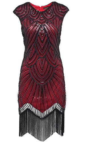 [BABEYOND Womens Flapper Dresses 1920s Beaded Fringed Great Gatsby Dress, Wine Red, X-Large] (1920 Dress)