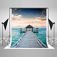 Seaside Photography Background Bridge Pavilion Sea View Romantic Wedding Vacation Backdrop Fabric Backdrop For Photo Shoots Cotton Foldable Without Creases 5X7FT