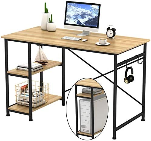 "Engriy Writing Computer Desk 47"", Home Office Study Desk with 2 Hooks and Storage Shelves on Left or Right Side, Industrial Simple Workstation Wood Table Metal Frame for PC Laptop, Natural"