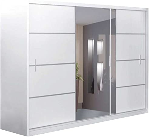 JUSTyou Vista 250 Armario Blanco Mat/Espejo Tamaño 215x250x61 cm: Amazon.es: Hogar
