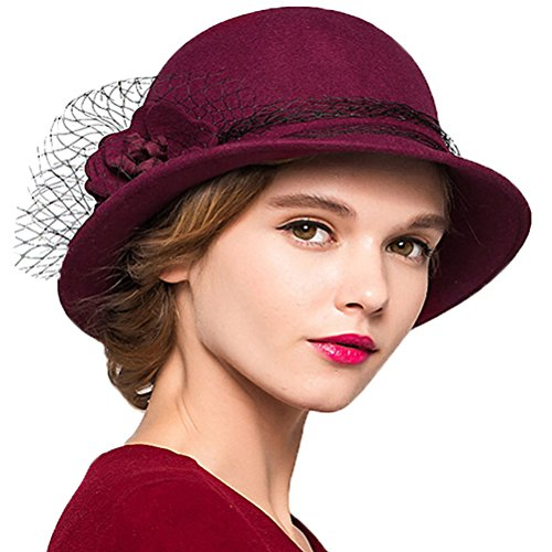 "Maitoseâ""¢ Women's Wool Felt Bowler Hat Wine Red"