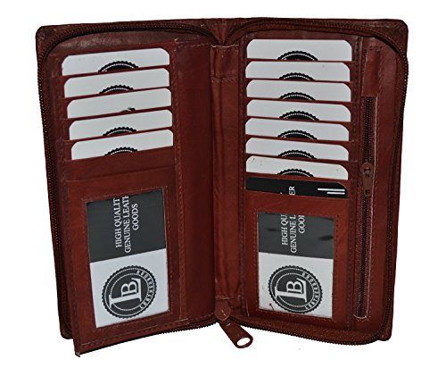 Leatherboss All Around Zipper Checkbook Holder With Pull Out Checkbook - Brown 7