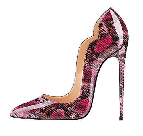 Scarpa red Edefs Classico High Chiuse Donna Tacco Davanti Ritaglio Scarpe Heels Python Col xFwB7vx