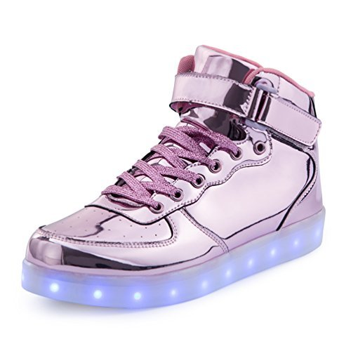 KEVENI Kids Boys Girls High Top USB Charging Led Shoes Light Up Flashing Shoes Fashion Sneakers LIGHT PINK 35
