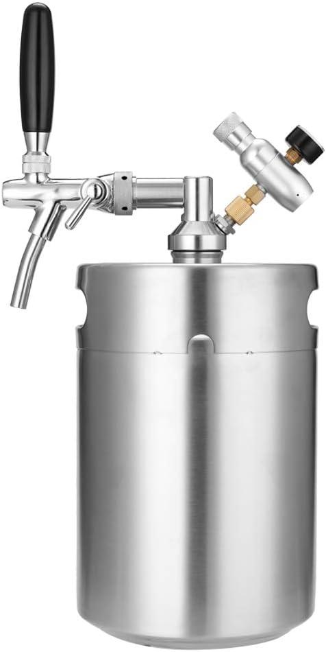 Donci Mini barril de cerveza de acero inoxidable Growler de acero inoxidable con grifo ajustable e inyector de CO2