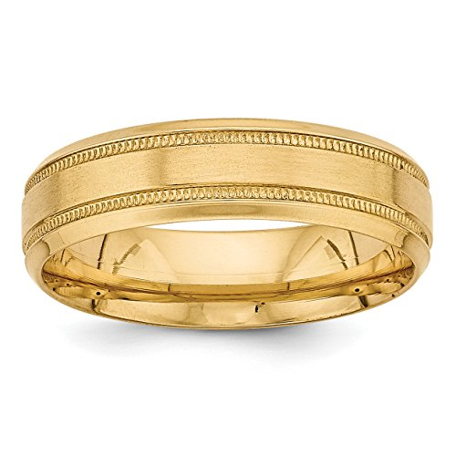 Comfort Fit Fancy Wedding Band - 14k Yellow Gold Heavy Comfort Fit Fancy Wedding Band Size 8