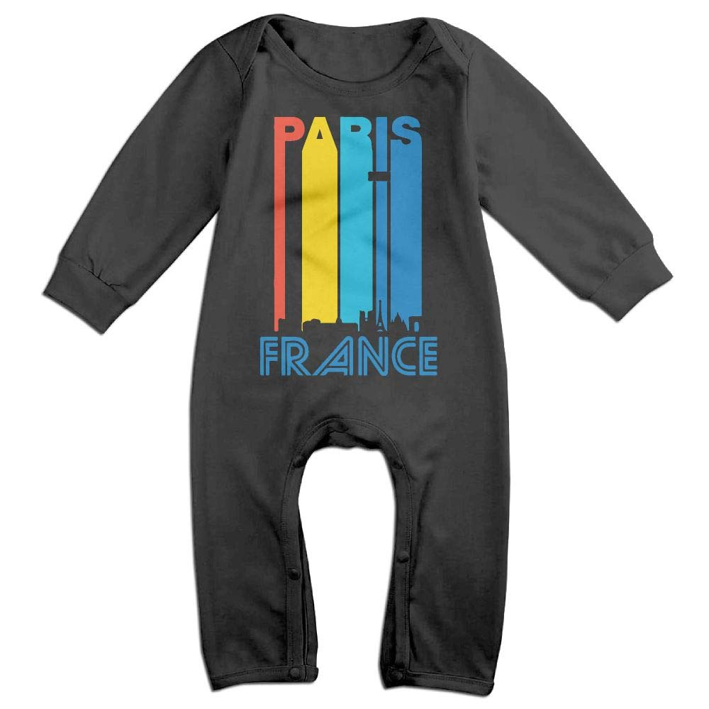 Retro 1970s Paris France Cityscape Downtown Skyline Long Sleeve Infant Baby Romper Jumpsuit Onsies for 6-24 Months Bodysuit
