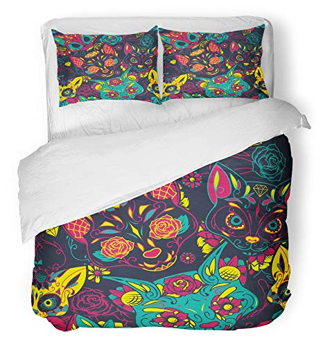 0b718f8ec906 Emvency 3 Piece Duvet Cover Set Breathable Brushed Microfiber Fabric Tattoo  Colorful Sugar Cat Skull with