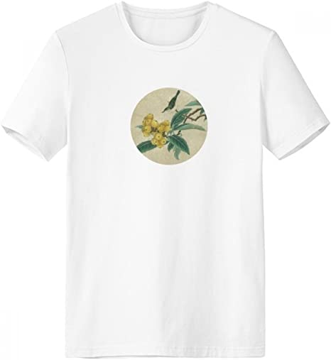 DIYthinker Níspero Figura Bordada Pluma De La Pintura China De Cuello Redondo Camiseta Blanca De Manga Corta De La Comodidad Camisetas Deportivas Regalo - Multi -: Amazon.es: Deportes y aire libre