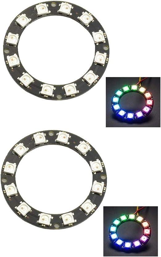 HiLetgo 2pcs WS2812 5050 RGB LED Ring 12 LEDs Power DC 4-7V RGB LED Ring for Arduino Raspberry Pi LED Display