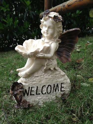 (Poly Resin Little Cherub Girl Angel Sitting Atop a 'Welcome' Sign with Flower)