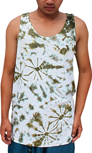 Full Funk Psychedelic Tie Dyed Summer Vest, X-Large, Dark Olive Green