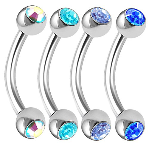 Curved Barbel Earring - 4Pcs 16g 8mm Curved Barbel Stainless Steel Crystal Piercing Conch Daith Lip Earring Labret Bridge Cartilage Rook BPAR