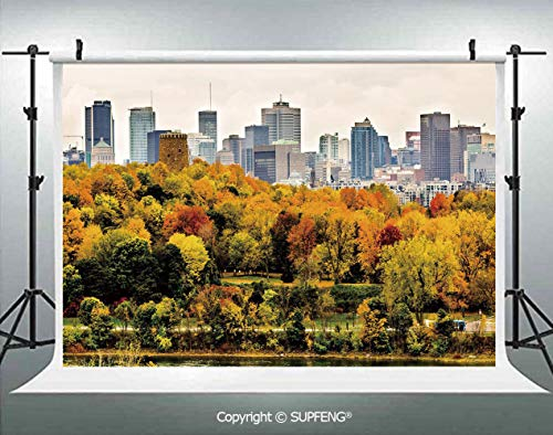 Background Montreal Downtown Skyscrapers Autumn Various Trees Colorful