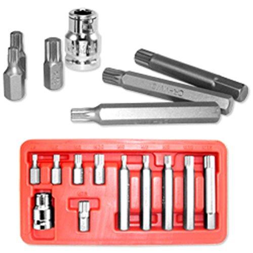 11pc CrV 10mm Hex Shank 12point XZN Spline Socket Bit Set W/ (Tip Spline Shank)