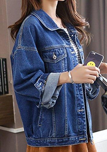VADOO Frauen Casual Lose Button 04 Jacke Jacket Jean Denim Langarm Heavy Mantel Boyfriend Blau Blau Damen Pocket Denim Duty Washed qrq5CdwT