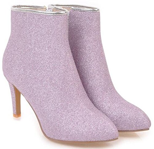 Stiletto Heels Toe IDIFU Sequins Boots Wedding Womens Pointed Purple Ankle Dressy Zipper Side High xYCwS