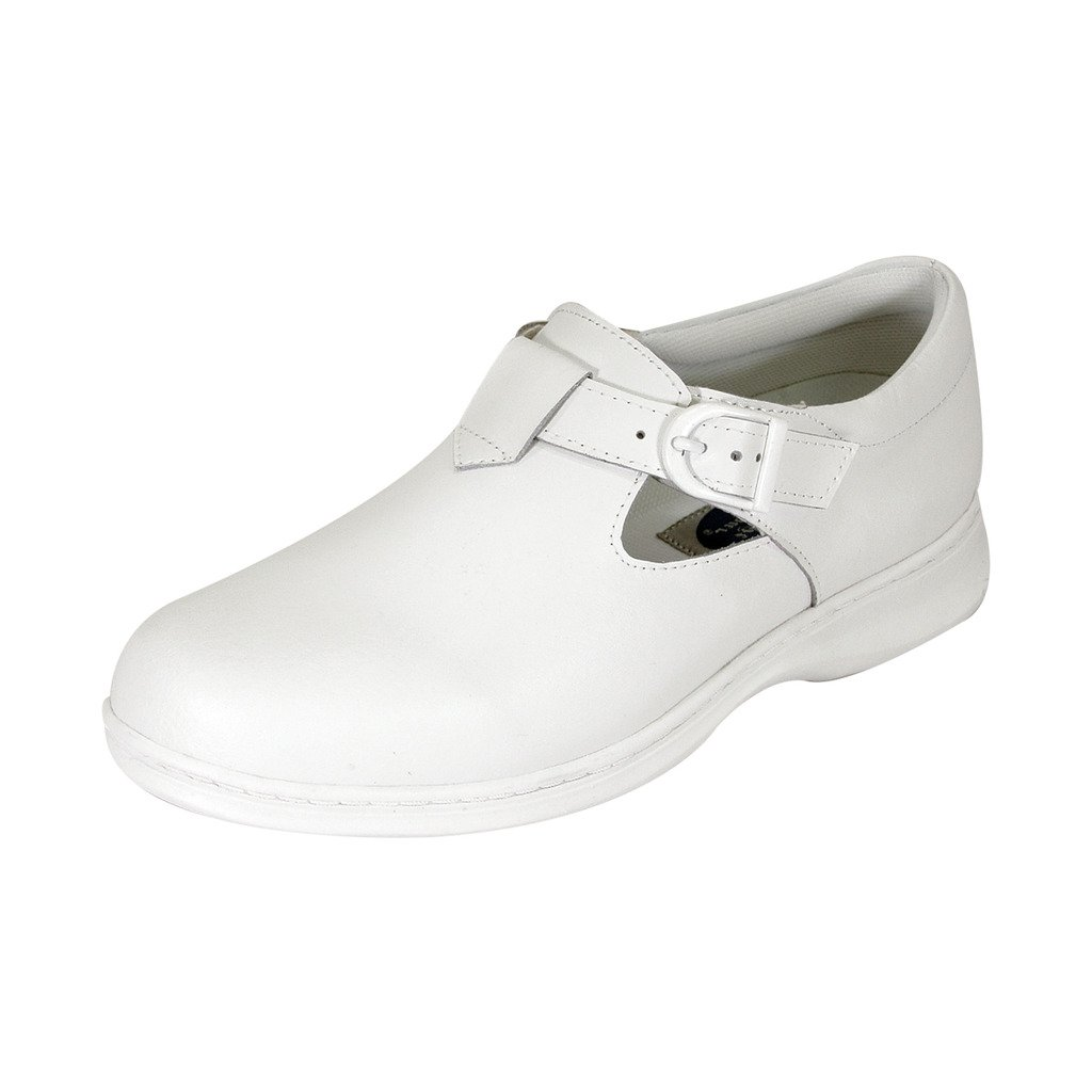 24 Hour Comfort  Willa Women Extra Wide Width T-Strap Adjustable Buckle Mary Jane Shoe White 8 by 24 Hour Comfort