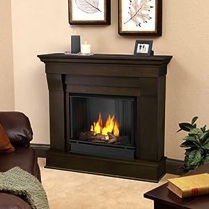 Real Flame Silverton Ventless Gel Fireplace in Dark Mahogany