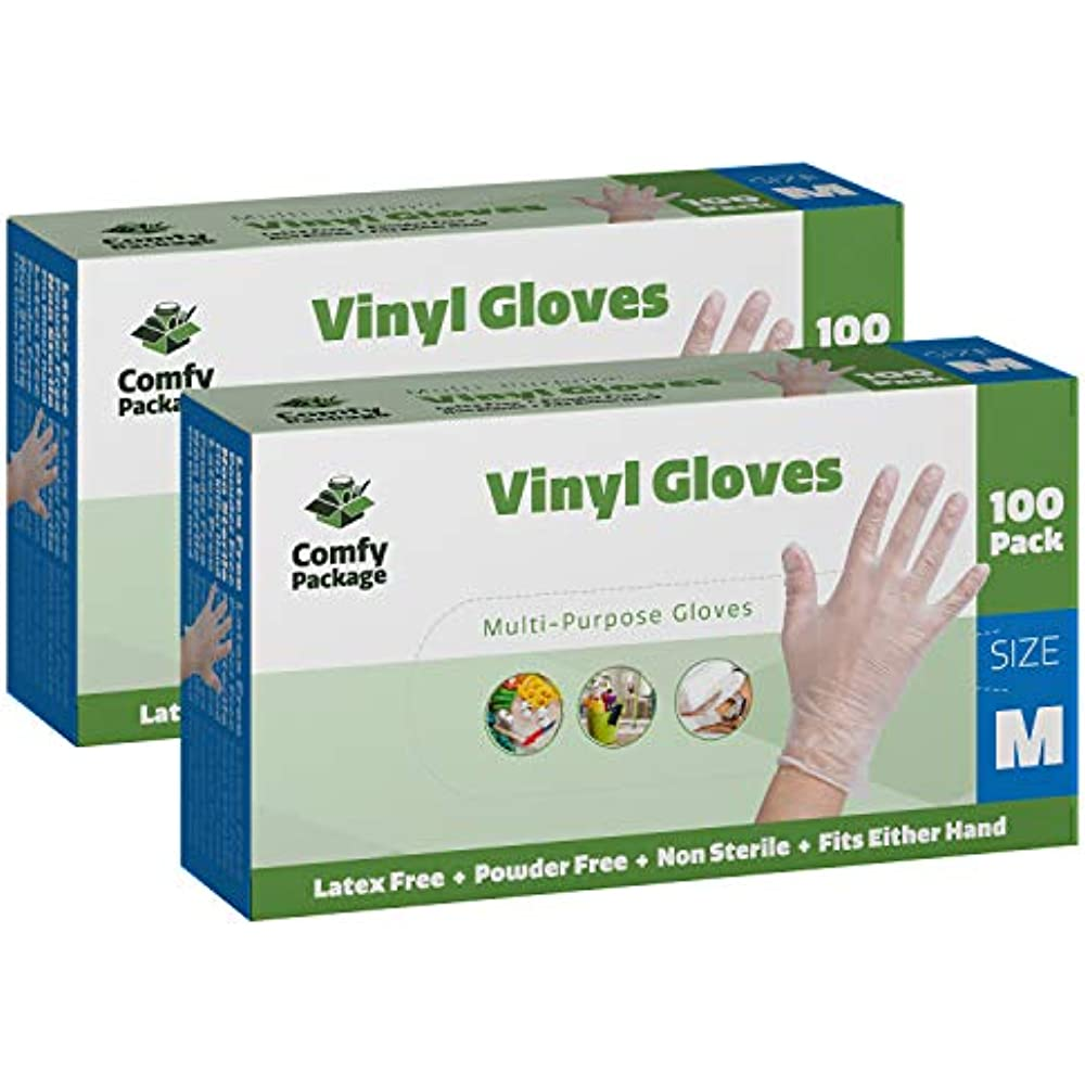 200 Box Clear Disposable Vinyl Gloves Non Latex Medium Size Powder Free Cleaning