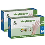 Clear Powder Free Vinyl Disposable Plastic Gloves [200 Pack] - Medium