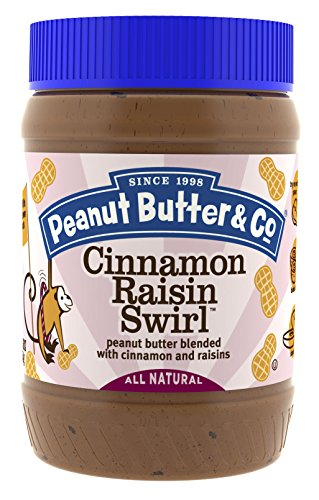 Peanut Butter & Co. Cinnamon Raisin Swirl Peanut Butter, Non-GMO Project Verified, Gluten Free, Vegan, 16 oz Jars (Pack of 6) ()