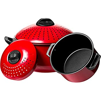 bialetti 07265 oval 5 quart pasta pot with strainer lid charcoal spaghetti pot. Black Bedroom Furniture Sets. Home Design Ideas