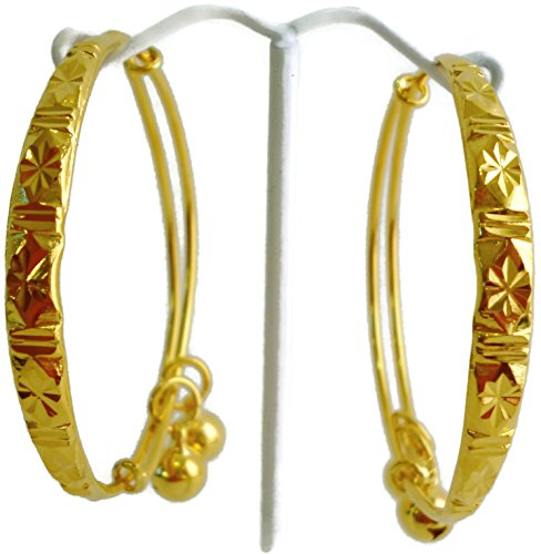 24k Thai Yellow Gold Plated Jewelry Baby New Born Anklet Bracelet Set with 2 Bells