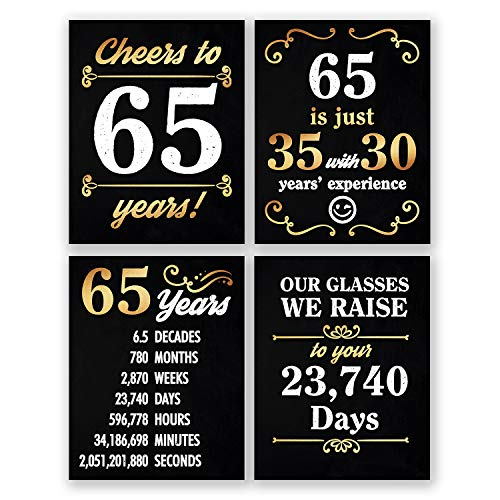 8x10 65th Birthday Decoration - Set of 4 Art Prints For Men and Women // Cheers to 65 Years Sign // Black and Gold