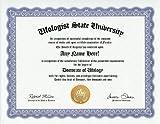 Ufologist UFO Ufology Degree: Custom Gag Diploma Doctorate Certificate (Funny Customized Joke Gift - Novelty Item)