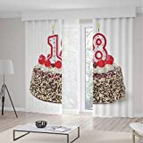 Decor Collection,18th Birthday Decoration,for Bedroom Living Dining Room Kids Youth Room,Sweet Eighteen Party Cake with Candles and Cherries Sprinkle Photo2 Panel Set,103W X 96L Inches
