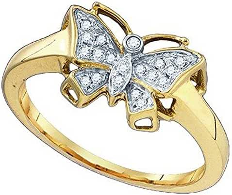 0.07 Carat (ctw) 10k Yellow Gold Round White Diamond Ladies Bridal Butterfly Right Hand Ring