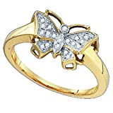 (US) 0.07 Carat (ctw) 10k Yellow Gold Round White Diamond Ladies Bridal Butterfly Right Hand Ring