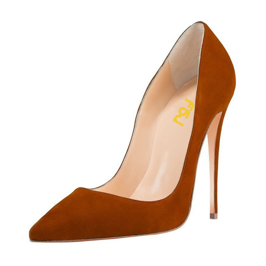 FSJ Women Sexy Suede Pointed Toe Pumps 12 cm High Heels Stilettos Prom Shoes Size 4-15 US B01HB7063U 9.5 B(M) US|Ochre