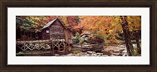 Glade Creek Grist Mill with Autumn Trees, Babcock State Park, West Virginia by Panoramic Images Framed Art Print Wall Picture, Brown Gold Frame with Hanging Cleat, 45 x 21 inches