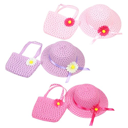 TOYMYTOY 3 Set of Girls Sunflower Straw Hat and Purse Summer Beach Party -