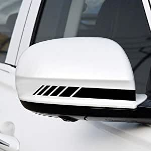 SOLDOUT™ Car Reflective Sticker Rearview Mirror Side Stripe DIY Decal Exterior Accessories For Benz for BMW Toyota Ford Audi for Volkswagen, 1 Pair (Black)