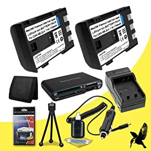 Two Halcyon 1700 mAH Lithium Ion Replacement NB-2LH Battery and Charger Kit + Memory Card Wallet + SDHC Card USB Reader + Deluxe Starter Kit for Canon EOS REBEL XTi, XT VIXIA HV20, HV30, HV40, HG10, HFR10, HFR100, HFR11 ELURA 40MC, 50, 60, 65, 70, 80, 85, 90 OPTURA 500,60, 30, 40, 400, 50, 500, 60 POWERSHOT G7, G9, S30, S40, S45, S50, S60, S70, S80 ZR900, 930, 950, 960 DC310, 320, 330 Digital Cameras and Canon NB-2LH